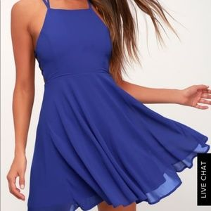 Lulu's Good Deeds Royal Blue Lace-Up Dress summer